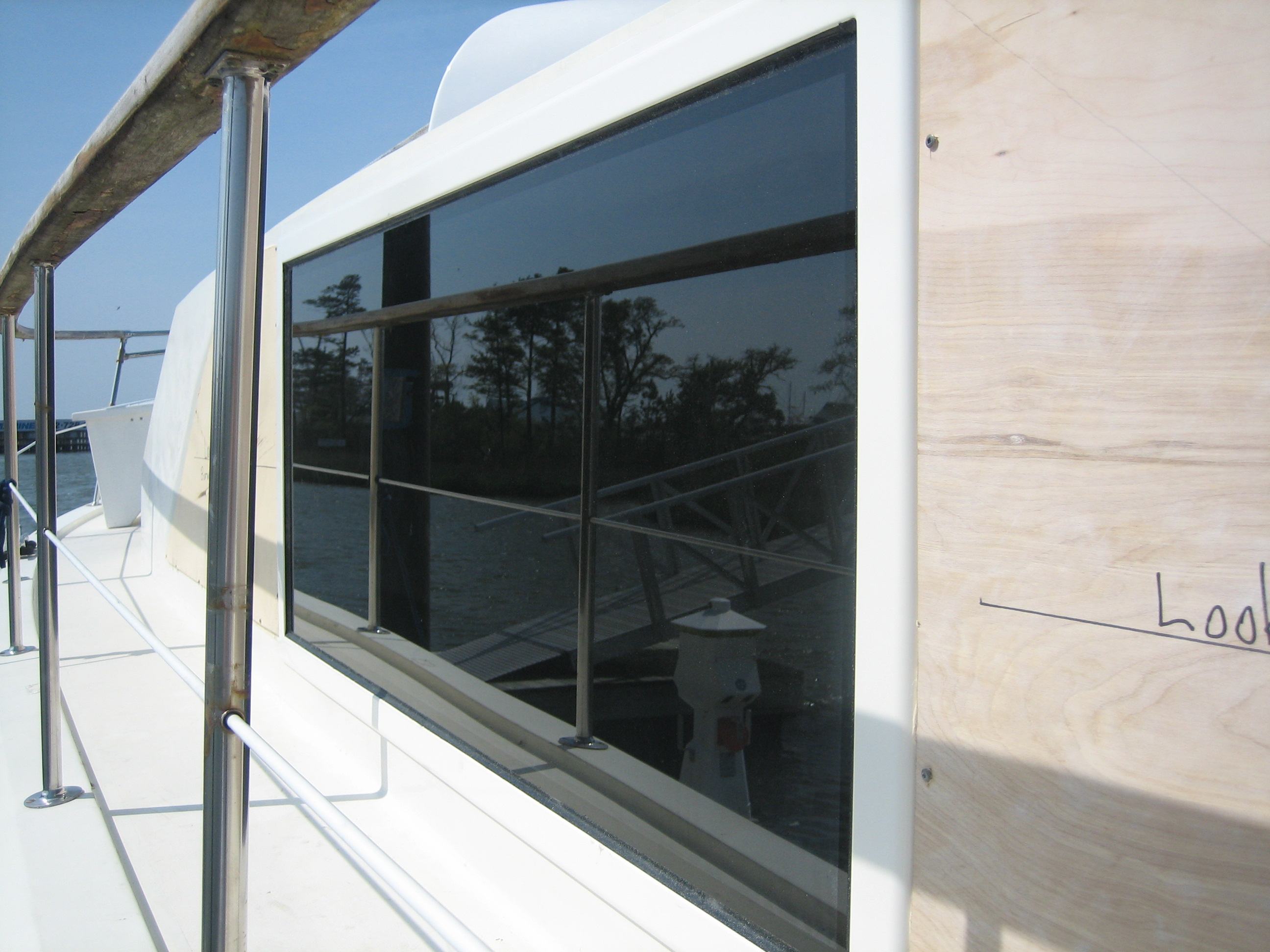 Photo of Boat Windows on Hatteras 43': Installed Boat Window