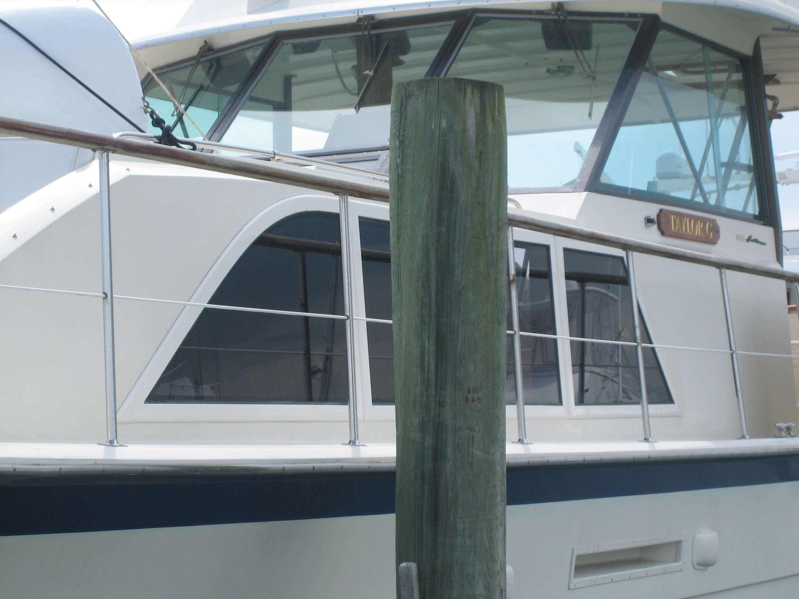 Hatteras double cabin 43 lookout boat window frames for Fiberglass replacement windows